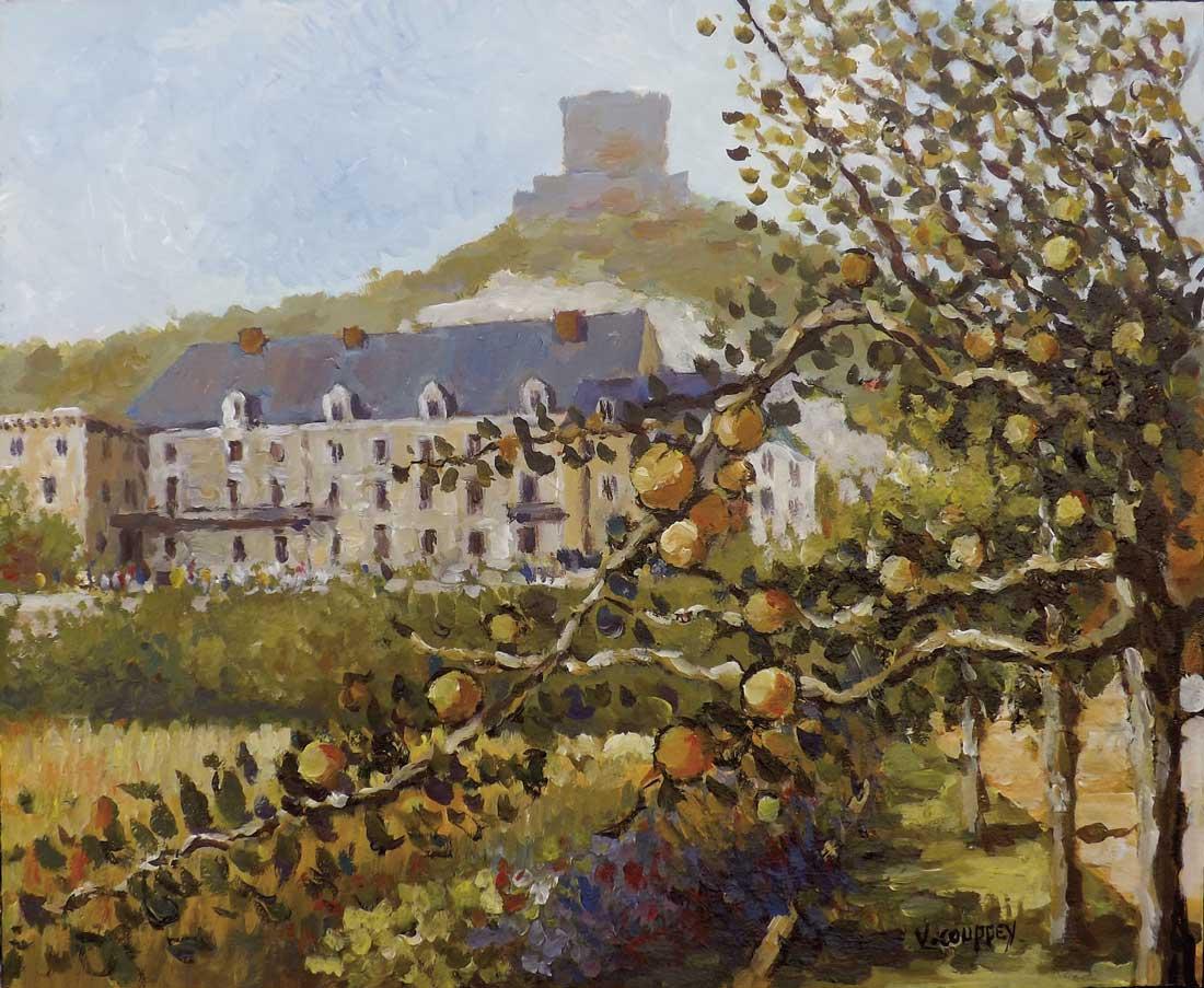 """""""Vue sur le château de """"La Roche-Guyon"""""""" - Acrylique sur toile - 60 cm x 50 cm - Ref.693/2015"""