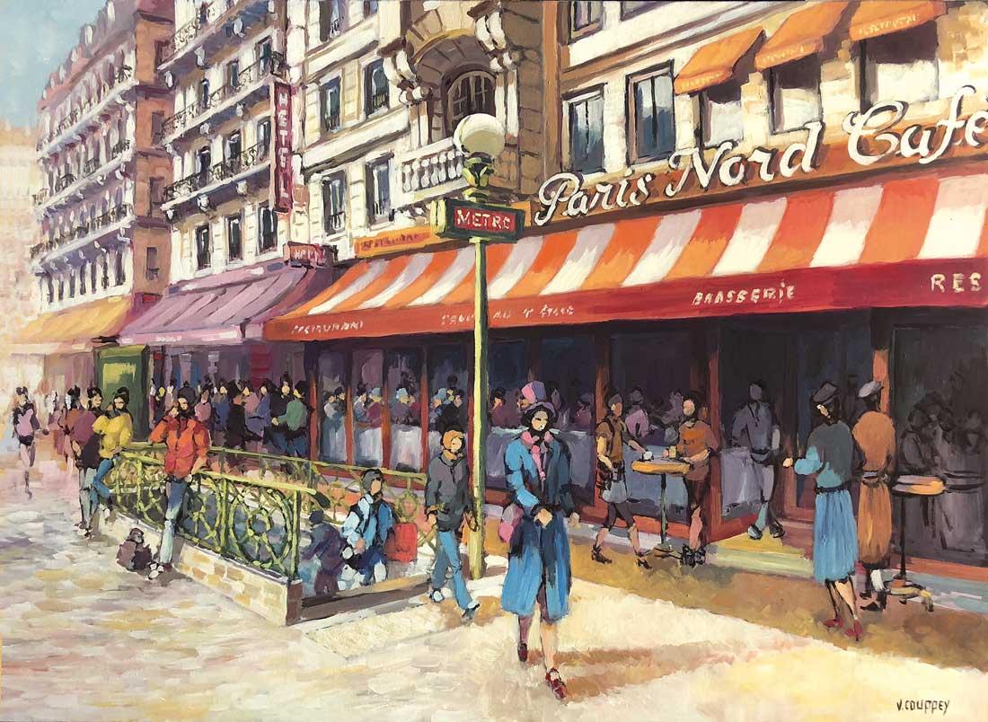 """""""Paris Nord Café II"""" - Acrylique sur toile - 116 cm x 89 cm - Ref.799/2018"""