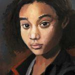 """""""Portrait fillette"""" - Acrylique sur toile - 30 cm x 40 cm - Ref.801/2018"""