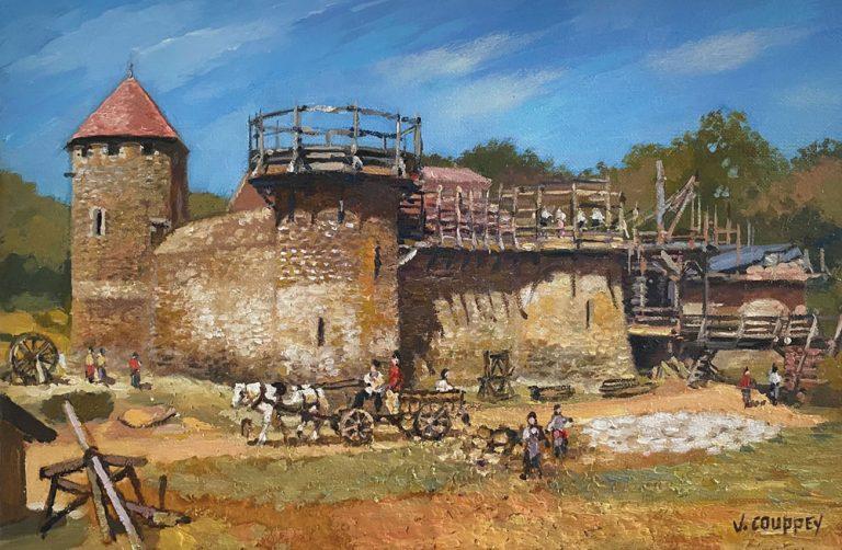 """""""Château de Guédelon"""" - Peinture interprétée d'après photo"""