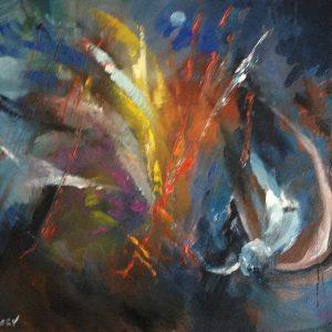 """""""Réalité virtuelle"""" - Huile sur toile - 60 cm x 50 cm - Ref.582/2012"""
