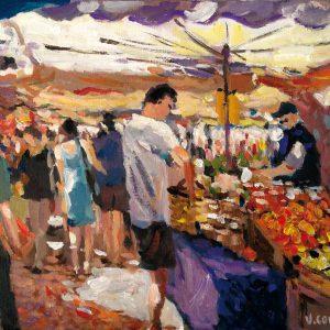 """""""Scène de marché à Aix-en-Provence"""" - Acrylique sur toile - 46 cm x 38 cm - Ref.639/2014"""